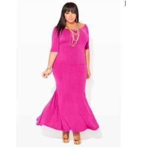 Ashley Stewart Purple Mermaid Maxi Dress Size 12